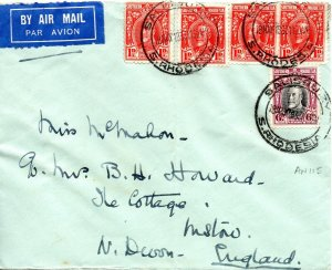 1931 Southern Rhodesia Sg16 & 20 Air Mail Cover to Histon flown Imperial Airways