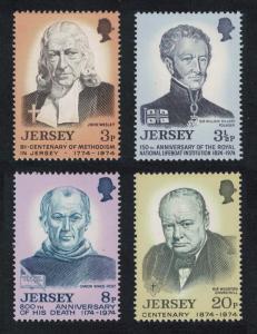 Jersey Churchill Wesley Hillary Wace Anniversaries 4v SG#111-114
