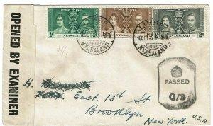 Nyasaland 1943 Limbe cancel on cover to the U.S., censored
