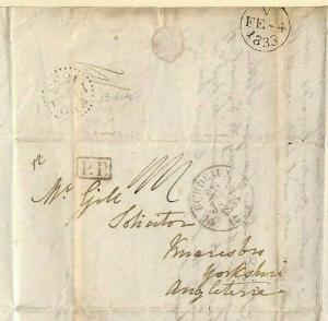 HISTORIC LETTER France Re CHOLERA Knaresboro Yorks DOCTOR{samwells-covers}MS3942