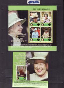 St. Kitts-Sc#660-1-two unused NH sheet-Royalty-QEII 80th Bir