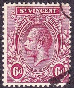 ST VINCENT 1913 KGV 6d Claret SG115 FU