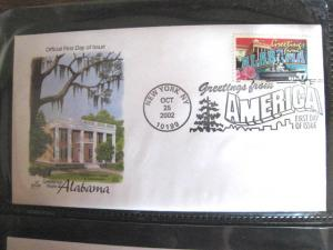 2002 GREETINGS FROM AMERICA FDCs - set of 50