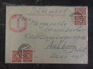 1946 Mannheim Germany Us Civil Censored Cover to Aalborg Denmark