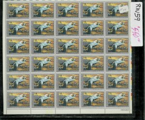 RW59 1992 FULL FEDERAL DUCK STAMP SHEET.   PLATE # 190493 BOTTOM