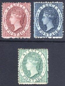 St Lucia 1863 (1d), (4d) & (6d) Wmk CC PERF 12.5 Scott 4-6 SG 5-8 MLH Cat $460