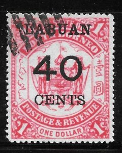 Labuan 62: 40c on $1 Arms of North Borneo, used, F-VF