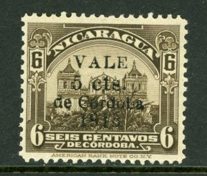 Nicaragua 1918 Cathedral Provisional 5¢/6¢ Scott 361 Mint M467