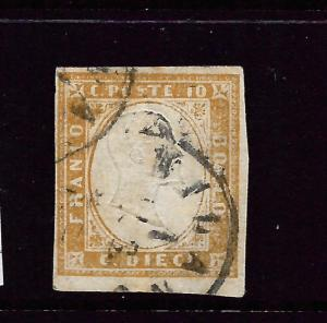 SARDINIA  1855-63  10c  BISTRE OLIVE  FU    SG 37  Sc 11b