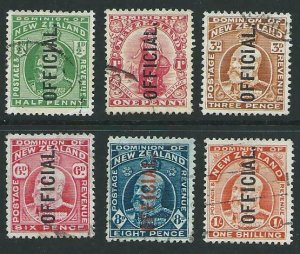 NEW ZEALAND 1909 EVII Official set of 6 used - ACS cat NZ$165..............48088