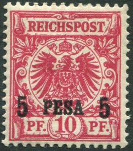 GERMAN EAST AFRICA-1893 5p on 20pf Carmine Sg 4 UNMOUNTED MINT V34740
