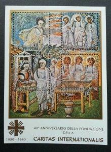 Vatican 40th Anniversary Of The Founding Of Caritas Internationalis 1990 (ms MNH
