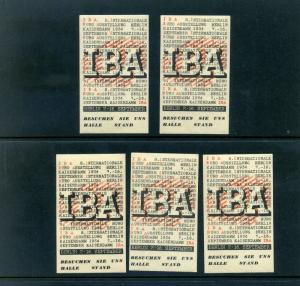 5 VINTAGE 1934 IBA  INTERNATIONAL BURO EXPO  POSTER STAMPS (L770) BERLIN GERMANY