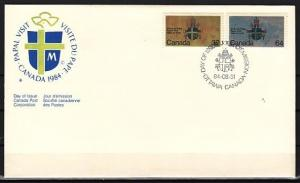 Canada, Scott cat. 1030-1031. Pope John Paul II issue on a First day cover. ^