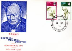 Brunei 1973 Sir Winston Churchill Set (2) Sc# 192/193 F.D.C.