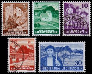 Liechtenstein Scott 136-138, 140, 142 (1937) Used/Mint H F-VF B