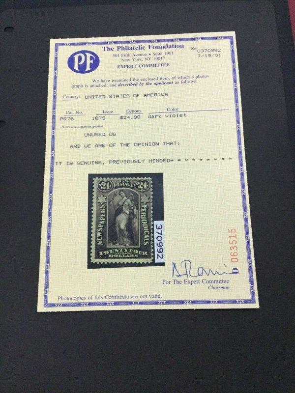 momen: US Stamps #PR76 Newspaper Mint OG H PF Cert LOT #70187