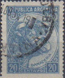 ARGENTINE, 1936, used 20c. blue (19½×26 mm). Production and Industry