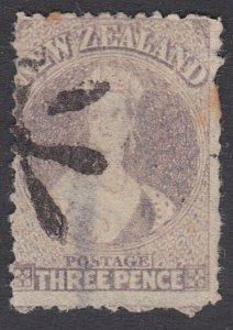 NEW ZEALAND 1864 3d Chalon SG117 with scarce TEMUKA STAR cancel............29355