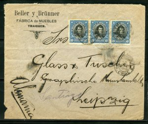 CHILE TRAIGUEN, 1/30/1913 COVER VIA SANTIAGO TO LEIPZIG, GERMANY AS SHOWN