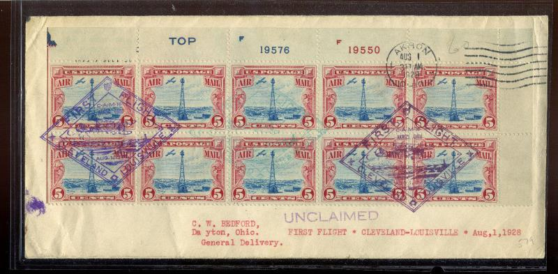 Scott #C11 Plate Block of 10 First Flight Cover Aug 1, 1928 with Cert (LOT #538)