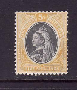 Southern Nigeria-Sc #8-unused,og,hinged-5sh yellow & blk-QV-1901-