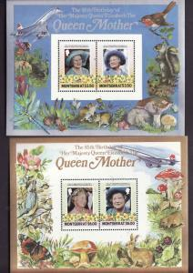 Montserrat-Sc#563-4-two Unused NH sheets-Queen Mother 85th birthday-1986-