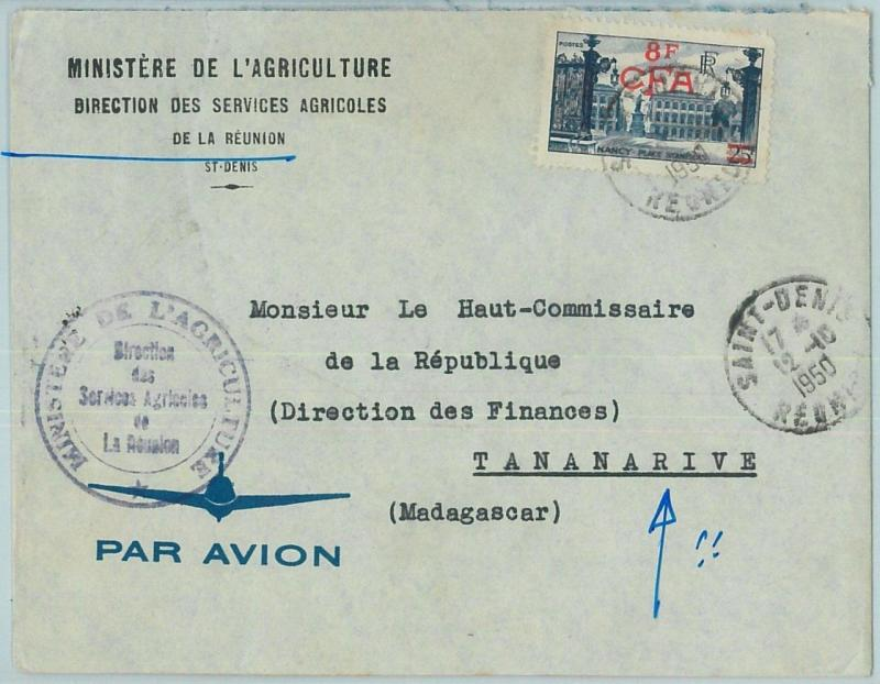 67325 -  FRENCH COLONIES: REUNION - Postal History - COVER to MADAGASCAR! 1950