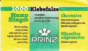 1 UNOPENED PACK OF PRINZ STAMP HINGES 1000 FOLDED LOWEST PRICE ON EBAY N