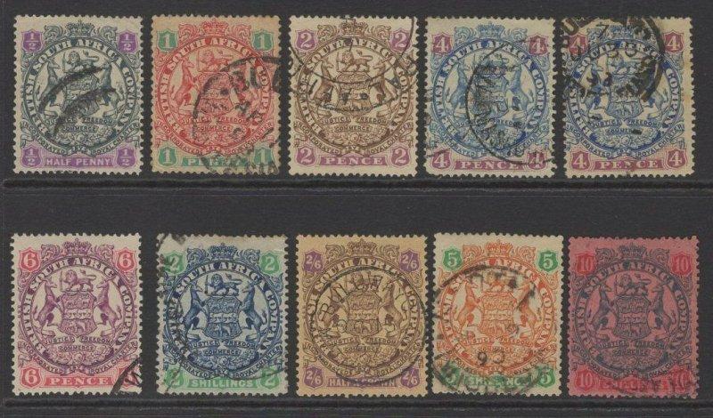 RHODESIA SG41/50 1896-7 DIE II DEFINITIVE SET USED