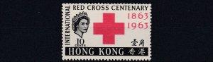 HONG KONG  1963  S G 212  10C  RED BLACK  MNH