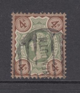 Great Britain Sc 116 used 1887 4p brown & green Queen Victoria, F-VF