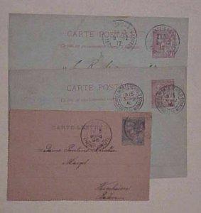 MONACO  POSTAL CARD 3 DIFF. CANCELS 1896,1910,1912 FOREIGN DESTINATIONS