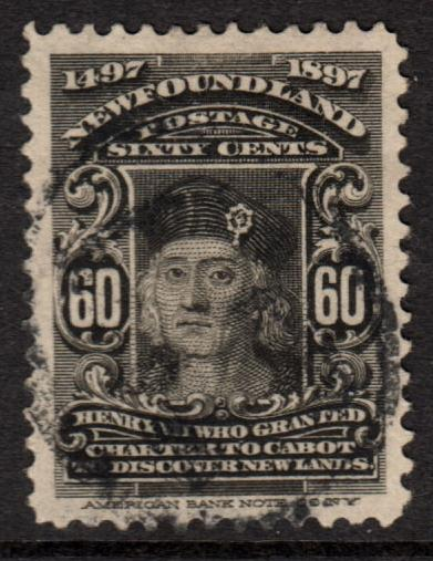 Newfoundland QV 1897 60c Black SG79 Good Used