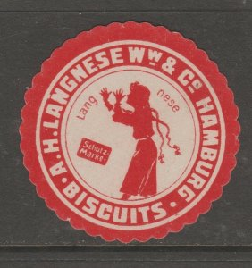 Cinderella revenue fiscal stamp 9-9-53 Germany Hamburg Biscuits