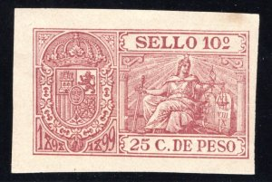 Puerto Rico, 1898, 25 C., Impresed Duty, Allegories, #76, MNHOG