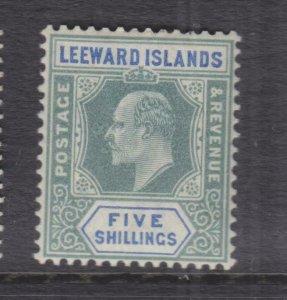 LEEWARD ISLANDS, 1902 KEVII CA 5s. Green & Blue, lhm.