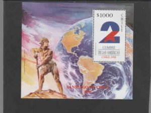 CHILE #1236  1998 2ND SUMMIT OF THE AMERICAS      MINT VF NH  O.G  S/S