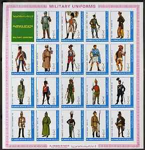 Ajman 1972 Military Uniforms #1 complete imperf set of 19...