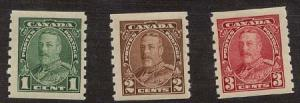 Canada - 1935 KGV Coil Stamps mint #228-230