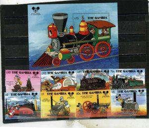 GAMBIA 1987 DISNEY HISTORIC LOCOMOTIVES SET OF 8 STAMPS & S/S MNH