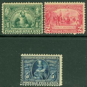 EDW1949SELL : USA 1907 Scott #328-30 Mint Original Gum. Small faults. Cat $177.