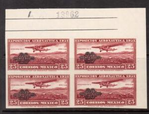 Mexico #C45a VF/NH Block **With Certificate**
