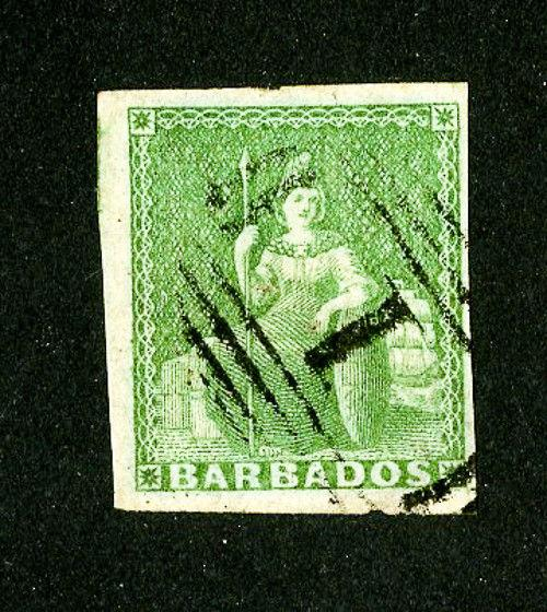 Barbados Stamps # 5 4 Margins Used Nice Stamp Scott Value $230.00