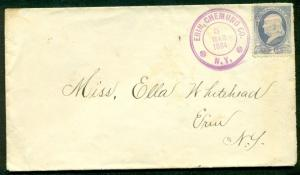 1884, 1¢ Banknote tied by purple ERIN, CHEMUNG CO. NY cancel, VF