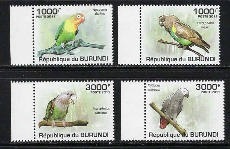 Burundi 872-75 MNH 2011 Parrots