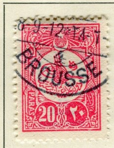 TURKEY; 1908 early classic issue fine used 20pa. value, Brousse Postmark
