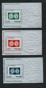 1974 - Israel - Jerusalem 73 International Stamp Exhibition - Coins - 3 blocks