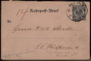 German 1895 Empire Berlin Rohrpost Pneumatic Mail Stationery  Cover 84456