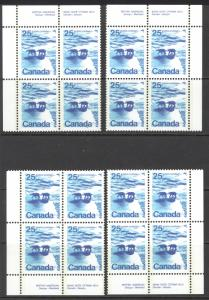 Canada Sc# 597a MNH PB Set/4 (Plate 3) 1972 25¢ Polar Bears